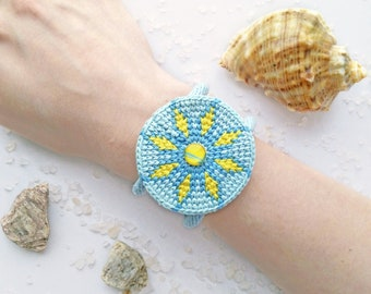Boho cuff bracelet, beach gypsy bracelet, blue cotton thread bracelet, beautiful crochet bracelet, unique bracelet handmade, disc bracelet