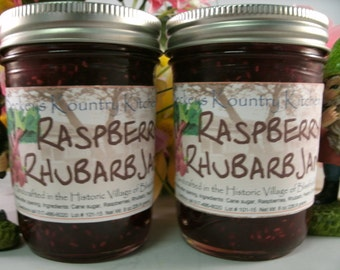 Two Jars Raspberry Rhubarb jam homemade by Beckeys Kountry Kitchen jelly fruit spread preserves