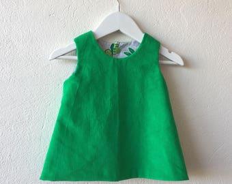 Baby girl reversible pinafore dress green corduroy dress