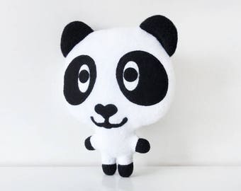 Stuffed panda hand made black and white