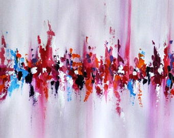Original Abstract Painting Palette Knife Art, White Pink Painting UNSTRETCHED Rolled in a tube 13x39""