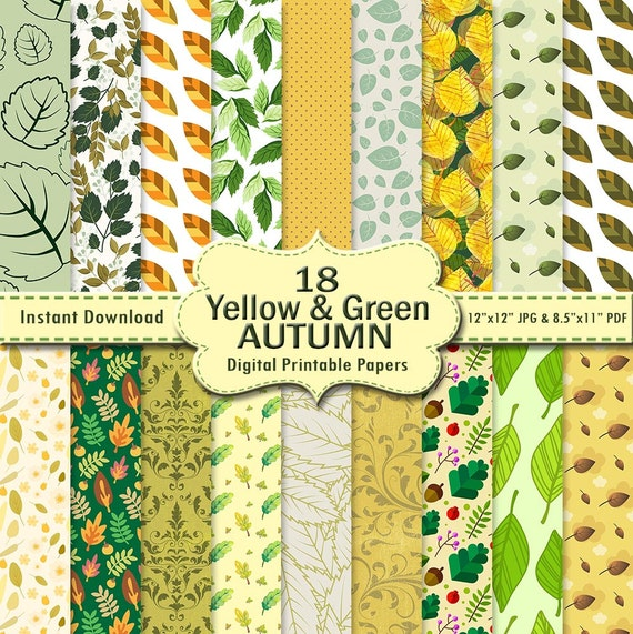 Autumn Scrapbook Paper Pack 18 Yellow Lime Green Mint Printable