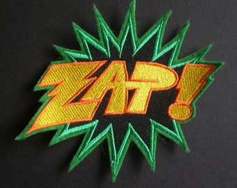 Large Embroidered Iron On Patch  ZAP  Hero Patch