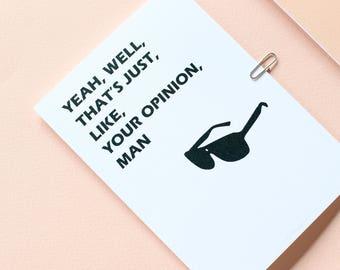 Big Lebowski Greetings Card