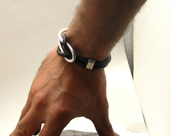 Men's leather bracelet. Brown leather marine knot men's bracelet with silver plated spacers and metal work hook clasp