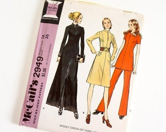 Shop SALE Vintage 1970s Womens Size 14 Dress or Tunic and Pants McCalls Sewing Pattern 2949 FACTORY Folds / b36 w27
