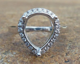 Free Shipping 14K White Gold 8x10MM Pear Semi Mount Ring For Women