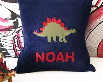 Stegosaurus personalised cushion - personalized - boy's bedroom - dinosaur gift - dinosaur nursery decor - prehistoric - dinosaur pillow