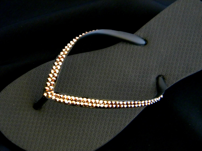 d80838b6dc22eb Rose Gold Custom Crystal Flip Flops Havaianas Slim flat or Cariris w  Swarovski  Rhinestone Bridal Jewel Thong Sandal Beach Wedding Shoes