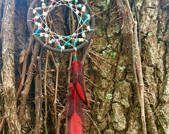Red Laced Hen Feather Dreamcatcher