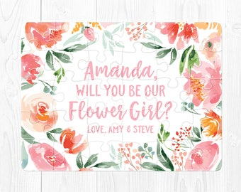 Flower Girl Proposal Flower Girl Puzzle Proposal Pink Flower Girl Card Will You Be Our Flower Girl Puzzle Flower Girl Gift Peach Pink Cute