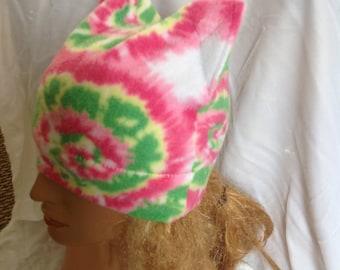 Sale - Pink Tie Dye Fleece Kitty Ear Hat, Cat Ear Hat, Kitty Ear Beanie, Cat Ear Beanie, Winter Kitty Ear Hat, Winter Beanie, Womens Beanie