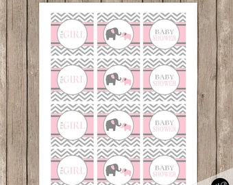 Pink Elephant Baby Shower Cupcake Toppers, Pink and Gray Toppers,  - Girl Baby Shower - pe1 INSTANT DOWNLOAD