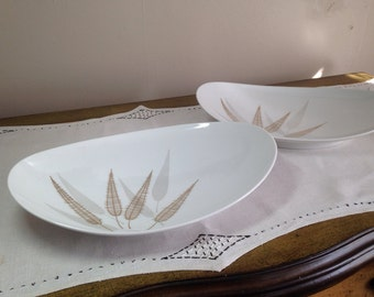 Vintage Modern Serving Bowl Set R Thomas Germany Gold Gray Leaf Mid Century Vegetable Table