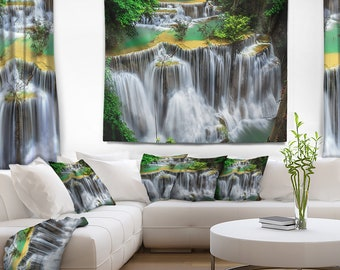 Designart Huay mae Ka Min Waterfall Photography Wall Tapestry, Wall Art Fit for Wall Hanging, Dorm, Home Decor