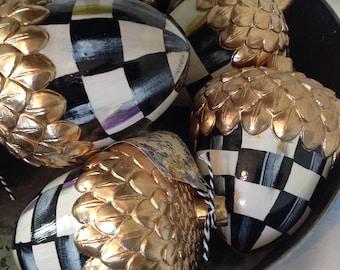 SALE!!!    Acorns!!  Acorns!!  Acorns!!  Hard to find Hand-Painted Black/White Check LARGE Acorns!