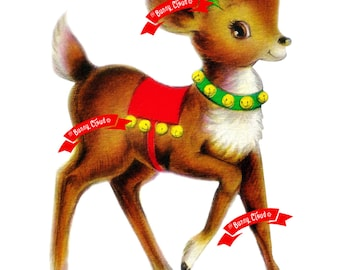Vintage Digital download, Reindeer image , Vintage greeting card, Printable, Christmas image, Cards, Scrapbooking, Vintage collage sheet