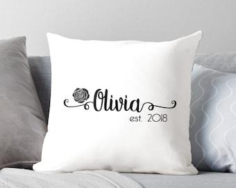 Personalized Name Rose Throw Pillow - POWS01