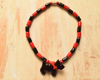 Black and Red Scottish Terrier Ceramic Necklace | Handmade Ceramic Beads and Dog Pendant