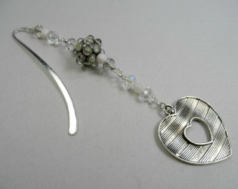 Open Heart Reversible Charm with Lampwork, Faceted Crystals and Mother of Pearl in Silvertone Bookmark