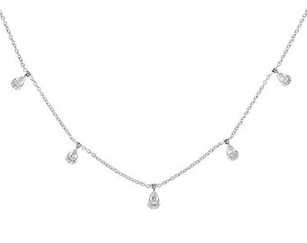 11362 Necklace with Round and Pear Shaped Diamonds in 18k White Gold