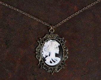 Dead Victorian Beauty Necklace, Cameo Necklace, Skeleton Head, Woman Skeleton, Black and White w/Antique Bronze Frame, Zombie Chick Cameo