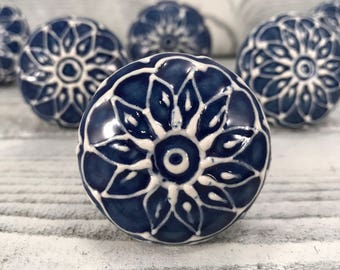 Ceramic Knobs, Single Decorative Floral Pull Knob, Hand Painted Blue & White Dresser Drawer Pulls, Cabinet Supplies, Item #548424818