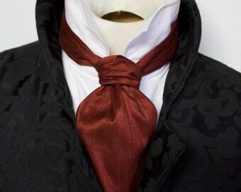 FORMAL Victorian Ascot Tie Cravat - Oxblood Red Rust Dupioni SILK