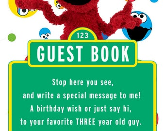 Sesame Street Elmo Guest Book Sign for 3 year old boy
