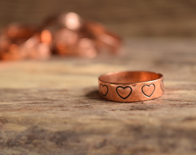 Featured listing image: Heart Rings - Heart stamped Ring - Stamped Copper Ring - Hearts - Vintage rings - love ring - copper band rings, copper sweetheart band ring