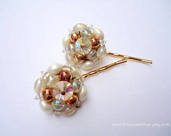 Vintage earrings hair slides - Exquisite bronze and white beaded crystal cluster embellish brown warm decorative jeweled hair accessories
