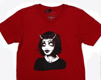 Goth Spider Girl V-neck Tshirt