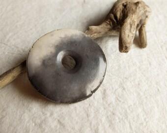Smoked fired ceramic pendant, terra sigillata, handmade