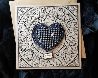 Love Valentine's Card | Gothic Valentine's Card | Vintage Valentine's Card | Black Heart | Handmade | Wedding Anniversary Card