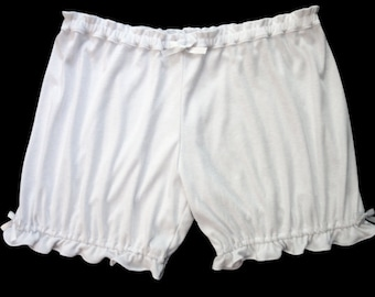 Plus Size Womens Bloomers / Soft White Bloomers / Pajama Shorts