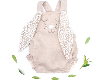 Linen and lace Easter bunny romper with lace ears, newborn gift, handmade baby outfit, hand embroidered, babyshower gift