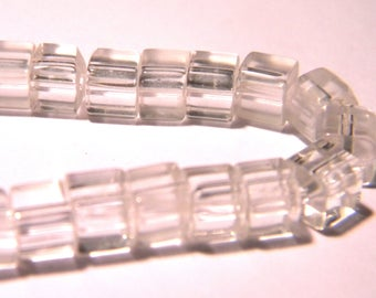 50 beads - glass cube with 4 mm - crystal - clear - 5 PG290 way