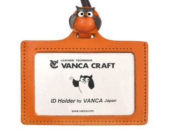 Owl Handmade 3D Leather ID Card/Badge Holder with Lanyard *VANCA*Made in Japan#26641