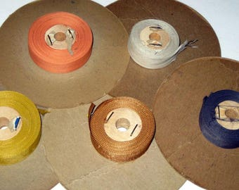 5 Partial Rolls Vintage Rayon Seam Binding for Crafting, Sewing, etc. -