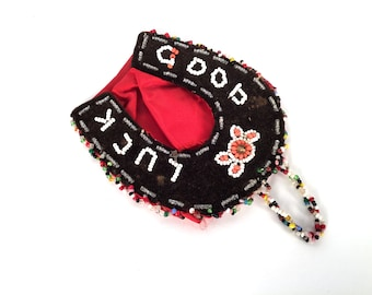 Vintage Edwardian, Vintage Wall Pocket, Good Luck Charm, Beaded Whimsey, Iroquois Beadwork, Hand Beaded, Vintage Souvenir, Horseshoe Decor