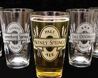 2 Personalized Pint Glasses, Personalized Gifts for Groomsmen, Customized Pint Glasses, Etched Glass