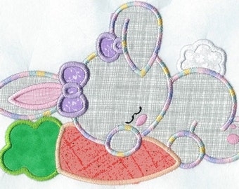 Sleeping Bunny with Carrot applique patch or quilt block machine embroidered