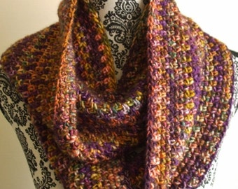 Crochet Infinity Scarf in Purple & Gold - Loop Crochet Scarf