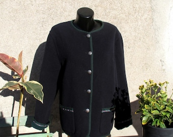 Cashmere wool 80s jacket / coat, midnight blue and green, size M by Hazan