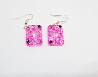 Resin earring playing card