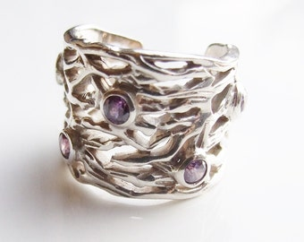 Vintage 925 Sterling Silver Large Amethyst Torque Ring Size 7 - N 1/2