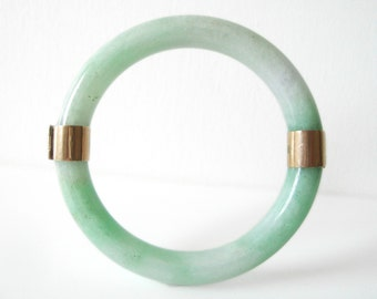Chinese Jade Apple Green Bangle Bracelet With 14K Gold Bands