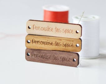 Custom Wood Tags Set of 25, Custom Logo Wood Tags, Personalised Custom Wood Tags with Logo, Custom Label Tags, Knitting Tags, Crochet Tags