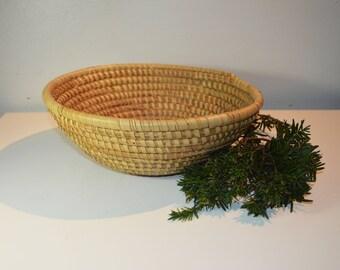 Vintage Handmade Coil Basket