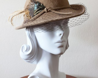1980s Vintage Hat   Betmar Hat   Veiled Tan Wool Hat with Feather a7cec0d368f